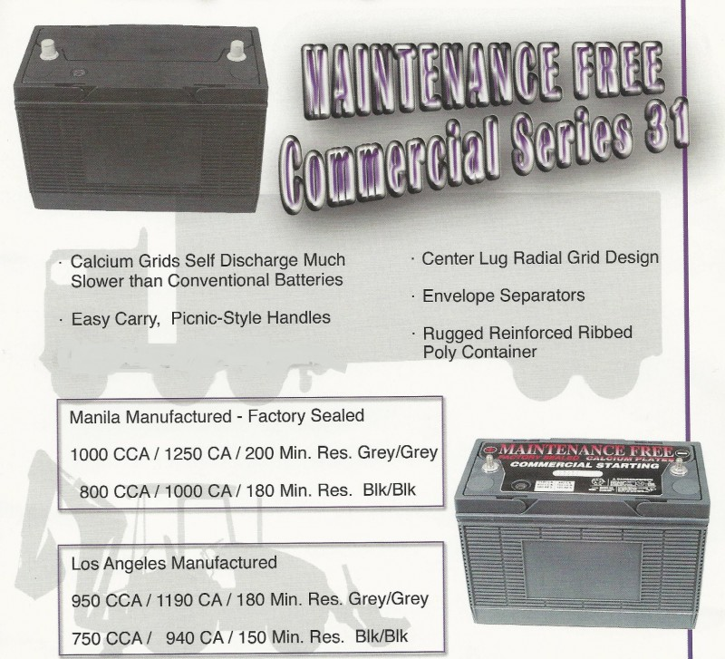 Maintenance Free Commercial Battery Series 31