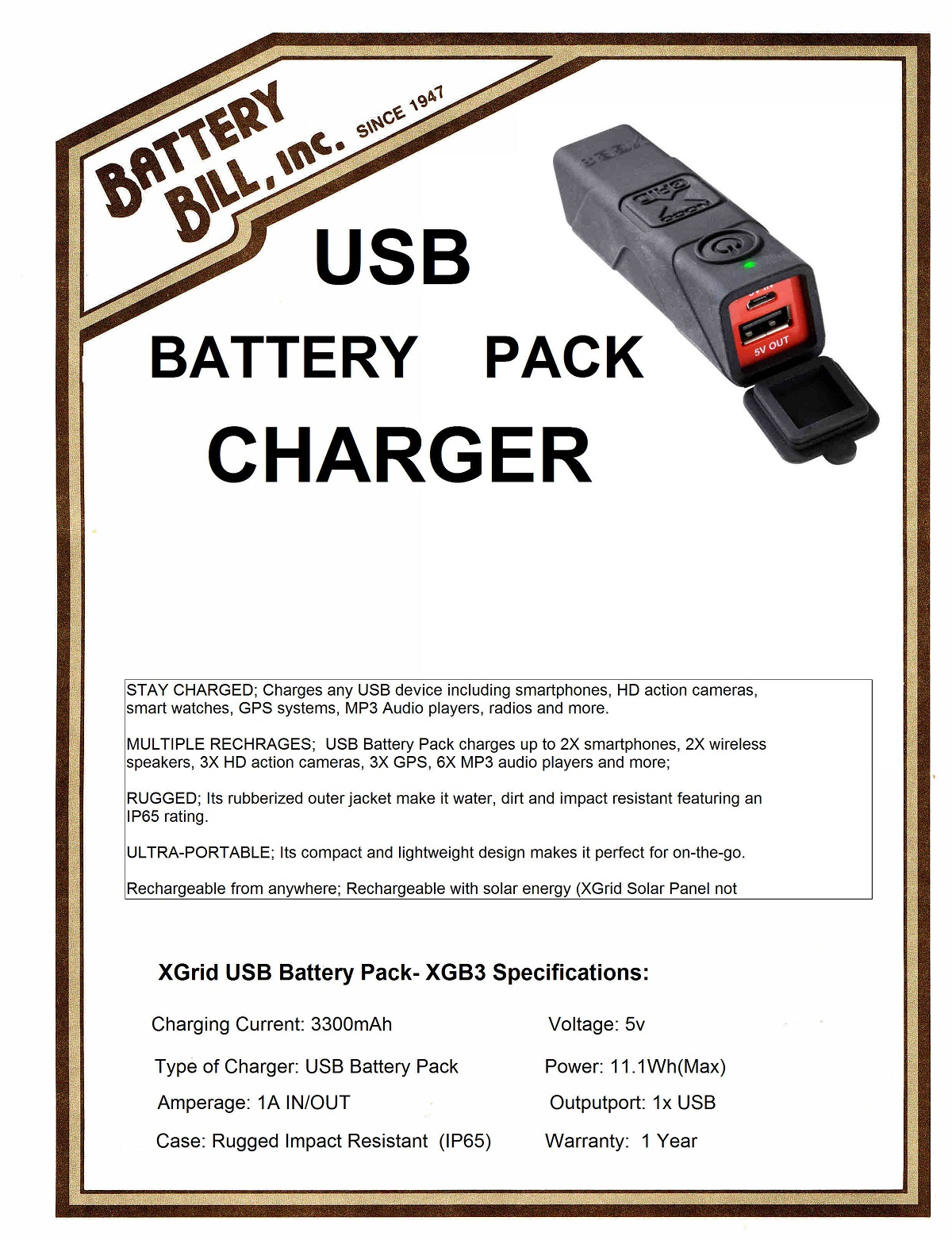 Xgrid USB Battery Pack XGB3 Charger
