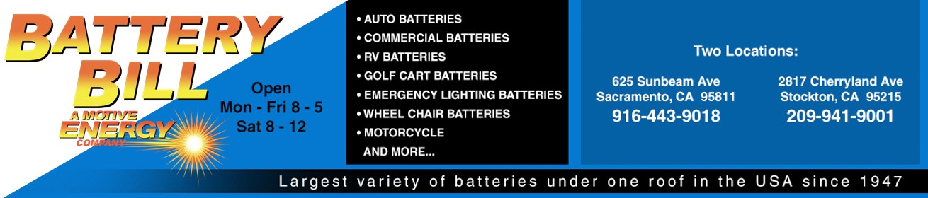 Battery Bill, Inc. Sacramento and Stockton CA Battery Store Motiv Energy CO